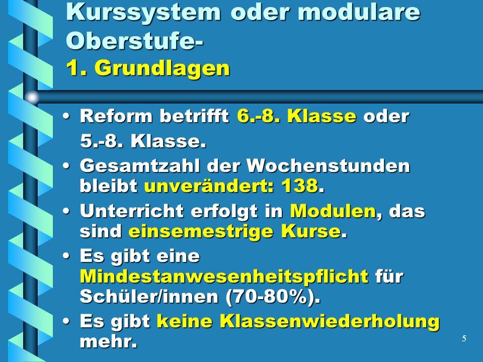 5 Kurssystem oder modulare Oberstufe- 1. Grundlagen Reform betrifft 6.-8.