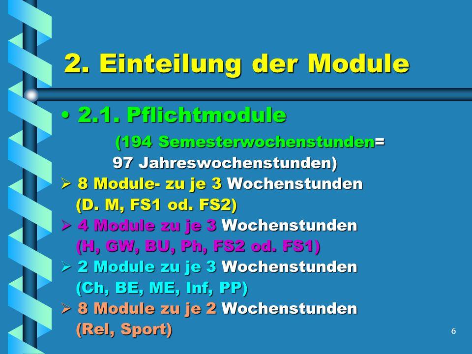 7 Kurssystem oder modulare Oberstufe 2.2 Wahlmodule2.2 Wahlmodule ( 82 Semesterwochenstunden= 41 Jahrewochenstunden) ( 82 Semesterwochenstunden= 41 Jahrewochenstunden) -fachspezifische Module (Erweiterung und Vertiefung der Pflichtmodule) -je 3 Wochenstunden -Projektmodule (z.