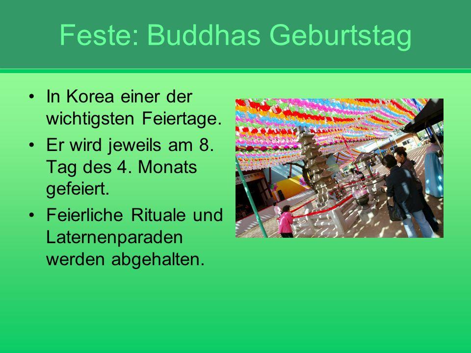 Feste: Buddhas Geburtstag In Korea einer der wichtigsten Feiertage. Er wird jeweils am 8. Tag des 4. Monats gefeiert. Feierliche Rituale und Laternenp