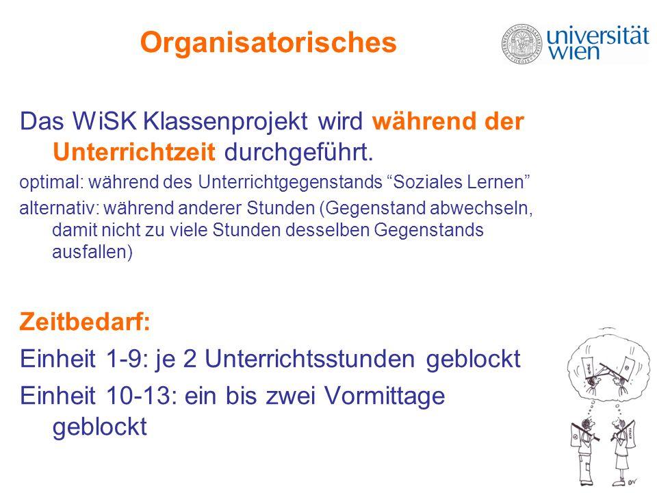 Organisatorisches Das WiSK Klassenprojekt wird während der Unterrichtzeit durchgeführt. optimal: während des Unterrichtgegenstands Soziales Lernen alt