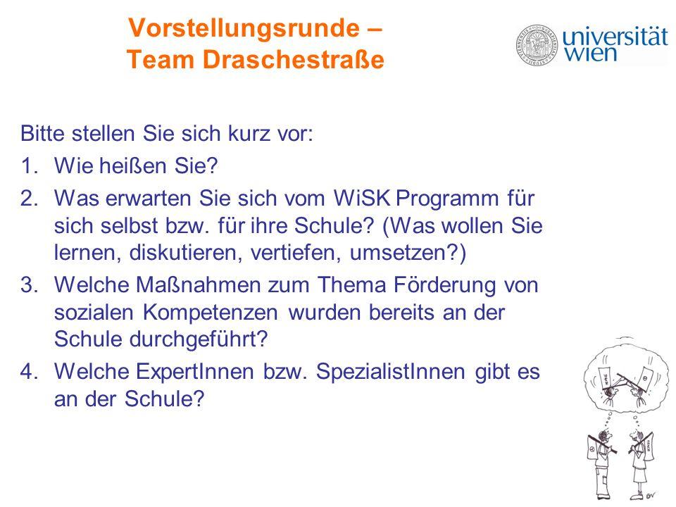 Vorstellungsrunde – Team Draschestraße Bitte stellen Sie sich kurz vor: 1.Wie heißen Sie? 2.Was erwarten Sie sich vom WiSK Programm für sich selbst bz