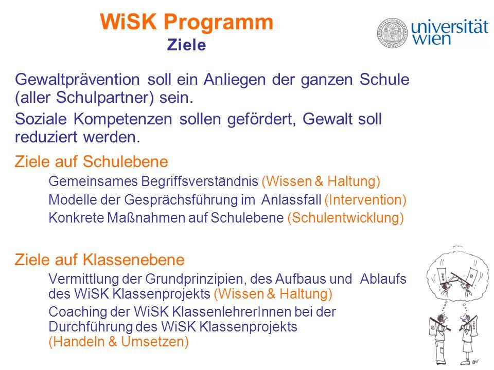 WiSK Programm Ziele Gewaltprävention soll ein Anliegen der ganzen Schule (aller Schulpartner) sein. Soziale Kompetenzen sollen gefördert, Gewalt soll