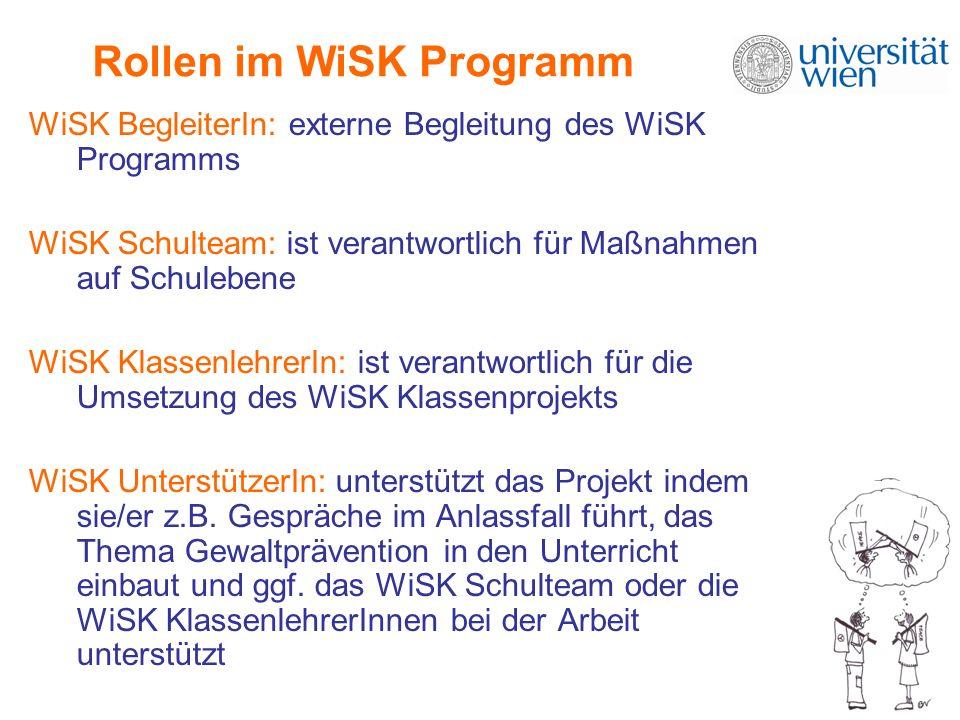 Rollen im WiSK Programm WiSK BegleiterIn: externe Begleitung des WiSK Programms WiSK Schulteam: ist verantwortlich für Maßnahmen auf Schulebene WiSK KlassenlehrerIn: ist verantwortlich für die Umsetzung des WiSK Klassenprojekts WiSK UnterstützerIn: unterstützt das Projekt indem sie/er z.B.