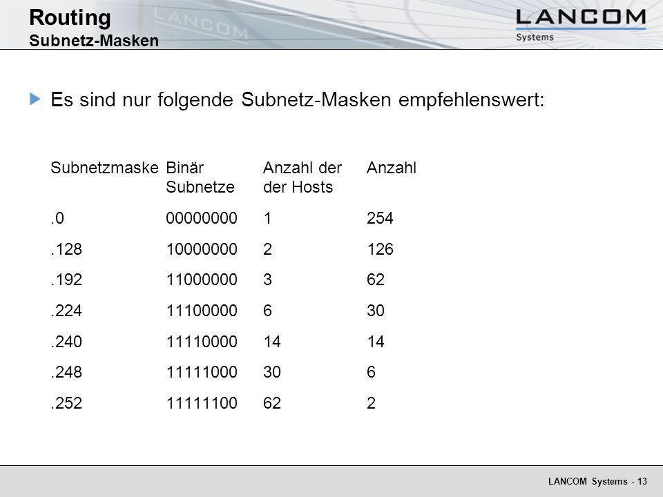 LANCOM Systems - 13 Routing Subnetz-Masken Es sind nur folgende Subnetz-Masken empfehlenswert: Subnetzmaske BinärAnzahl derAnzahl Subnetzeder Hosts.00