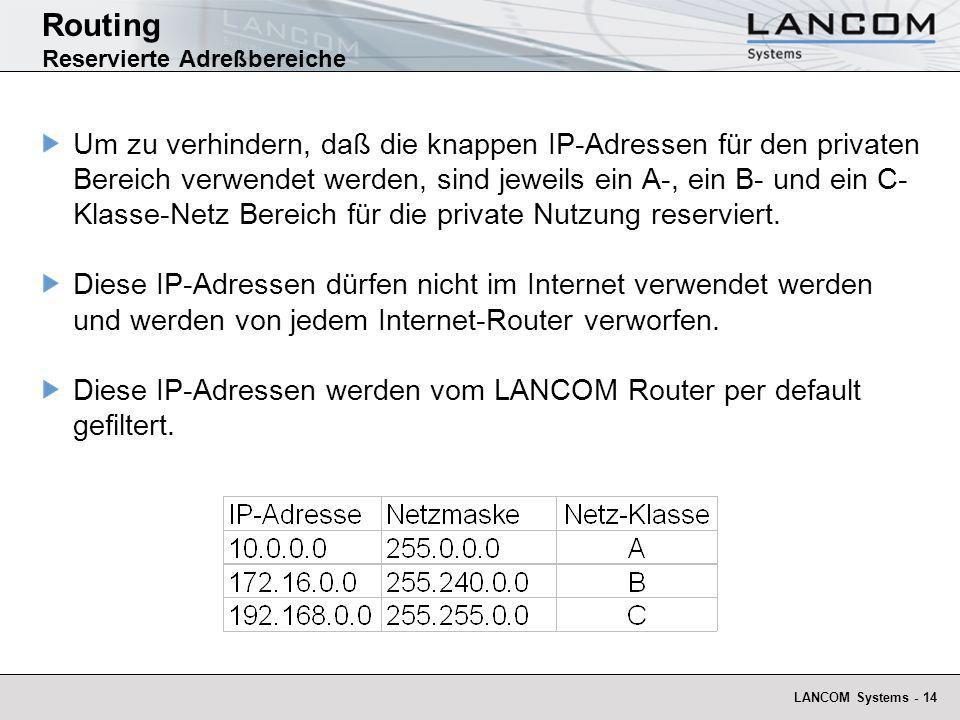 LANCOM Systems - 14 Um zu verhindern, daß die knappen IP-Adressen für den privaten Bereich verwendet werden, sind jeweils ein A-, ein B- und ein C- Kl