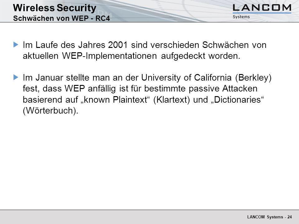 LANCOM Systems - 24 Wireless Security Schwächen von WEP - RC4 Im Laufe des Jahres 2001 sind verschieden Schwächen von aktuellen WEP-Implementationen a