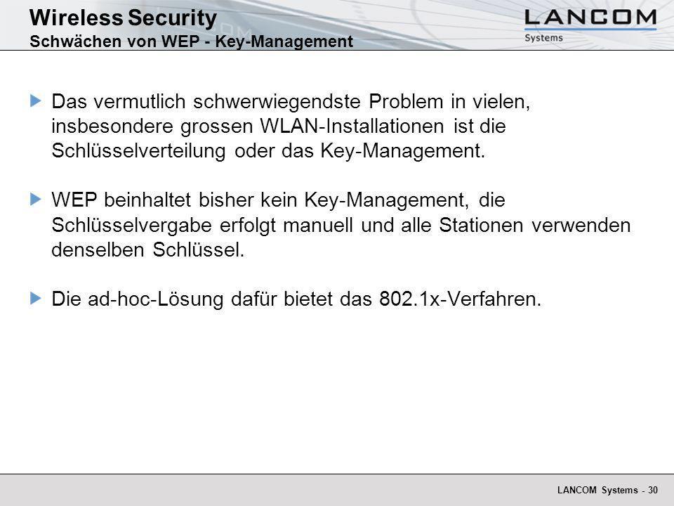 LANCOM Systems - 30 Wireless Security Schwächen von WEP - Key-Management Das vermutlich schwerwiegendste Problem in vielen, insbesondere grossen WLAN-