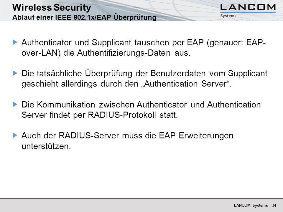 LANCOM Systems - 34 Wireless Security Ablauf einer IEEE 802.1x/EAP Überprüfung Authenticator und Supplicant tauschen per EAP (genauer: EAP- over-LAN)