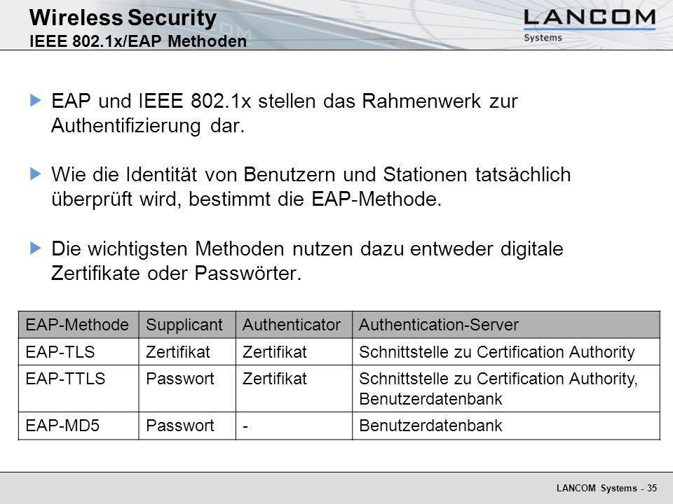 LANCOM Systems - 35 Wireless Security IEEE 802.1x/EAP Methoden EAP und IEEE 802.1x stellen das Rahmenwerk zur Authentifizierung dar. Wie die Identität