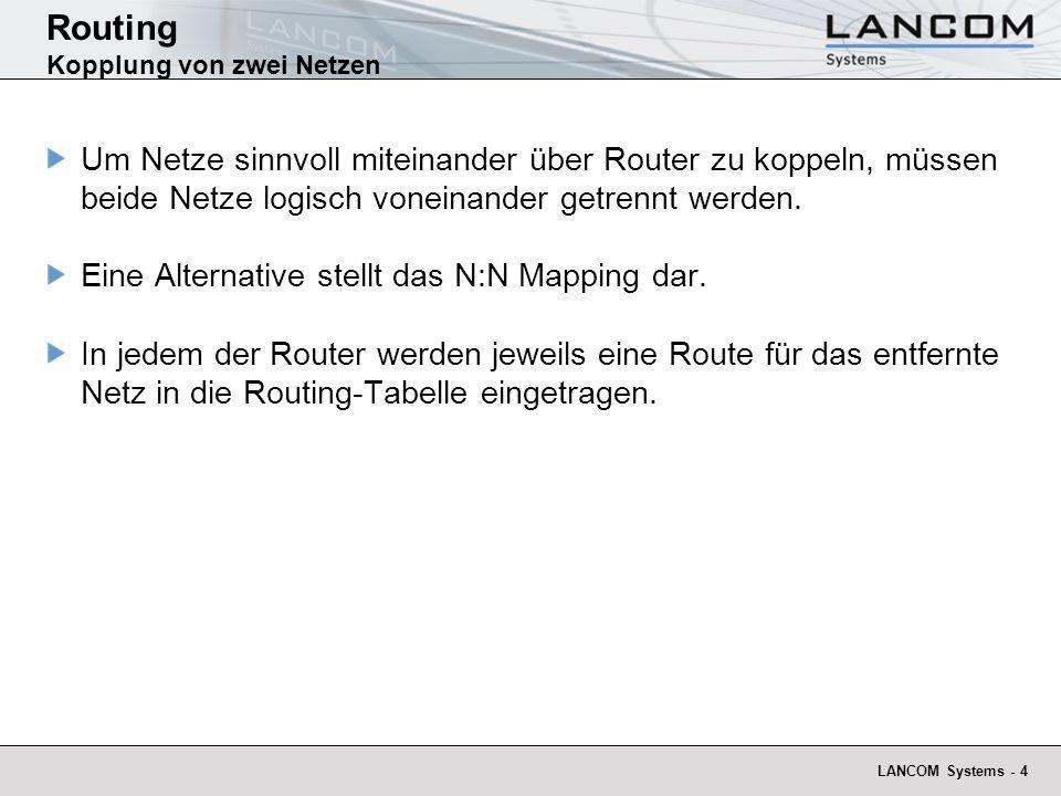 LANCOM Systems - 5 Routing Kopplung von zwei Netzen WAN LAN A 192.168.100.0 255.255.255.0 LAN B 192.168.120.0 255.255.255.0 LAN A 192.168.100.0 255.255.255.0 LAN B 192.168.100.0 255.255.255.0 Sauber getrennte Netze.
