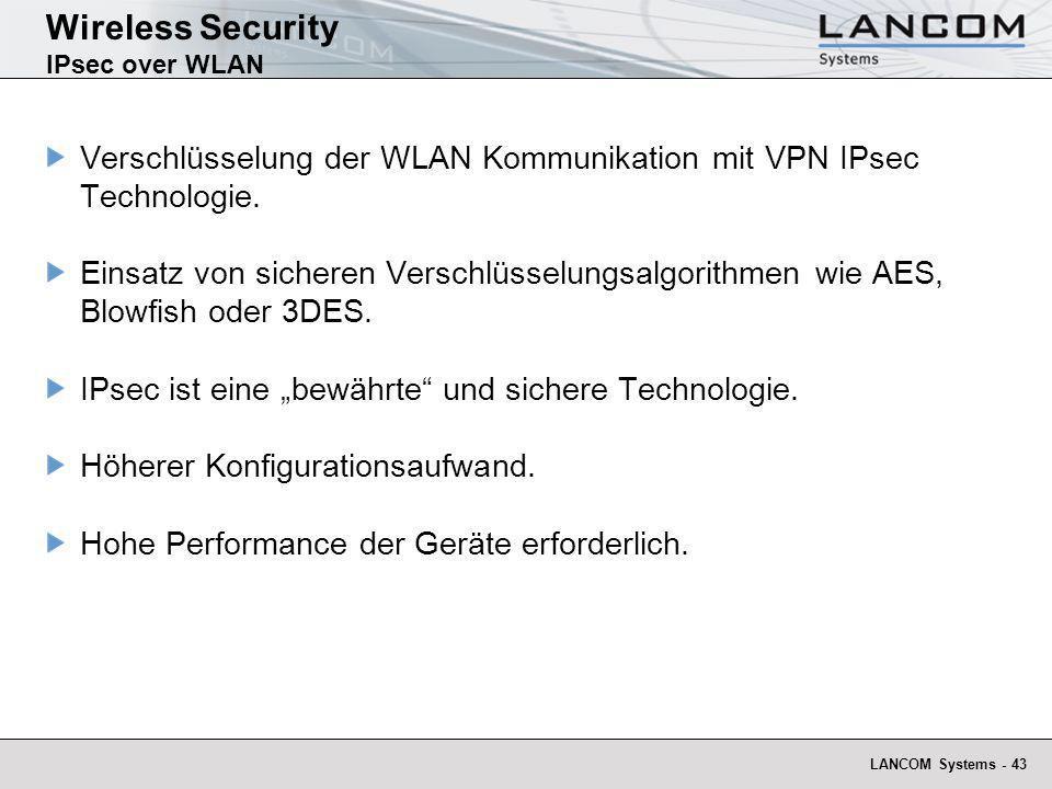 LANCOM Systems - 43 Wireless Security IPsec over WLAN Verschlüsselung der WLAN Kommunikation mit VPN IPsec Technologie. Einsatz von sicheren Verschlüs