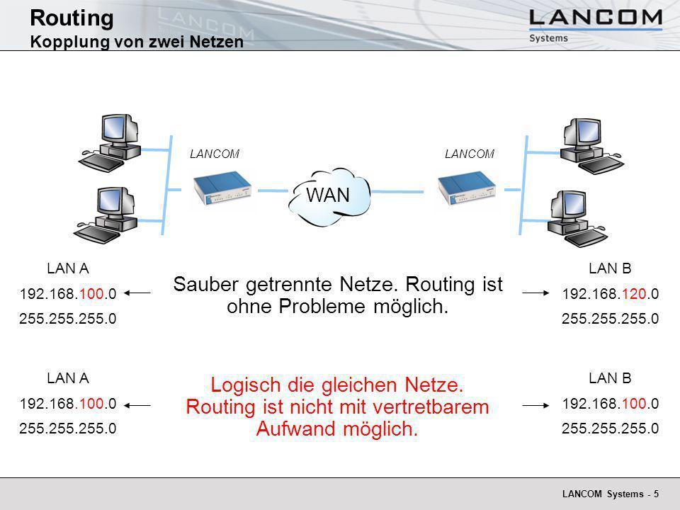 LANCOM Systems - 5 Routing Kopplung von zwei Netzen WAN LAN A 192.168.100.0 255.255.255.0 LAN B 192.168.120.0 255.255.255.0 LAN A 192.168.100.0 255.25