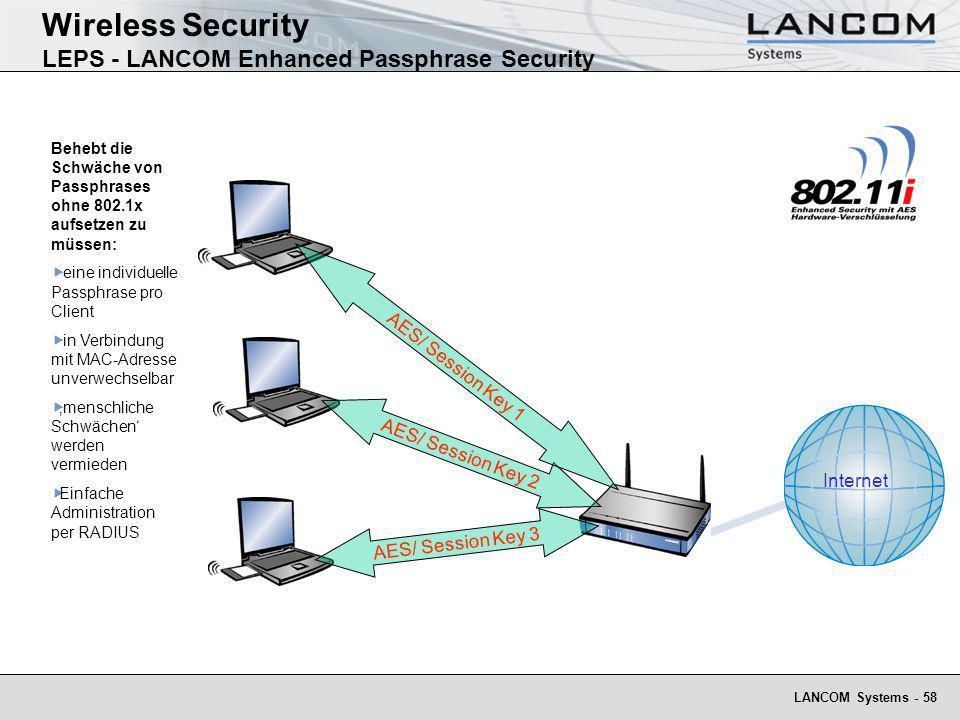 LANCOM Systems - 58 Behebt die Schwäche von Passphrases ohne 802.1x aufsetzen zu müssen: eine individuelle Passphrase pro Client in Verbindung mit MAC