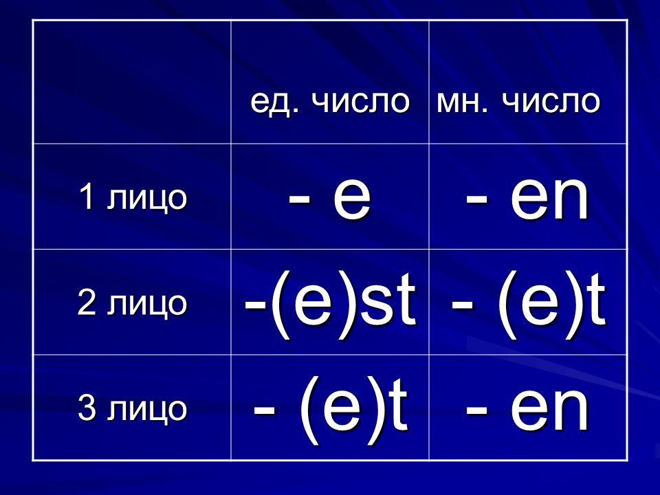 ед. число мн. число 1 лицо - e - en 2 лицо -(e)st - (e)t 3 лицо - (e)t - en