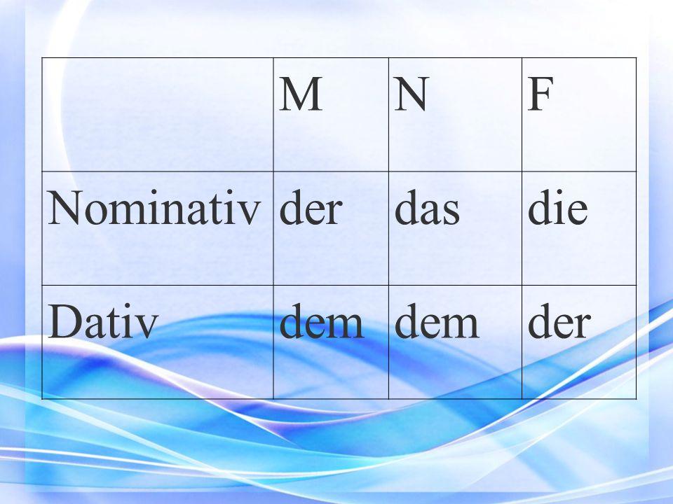 MNF Nominativ der dasdie Dativdem der