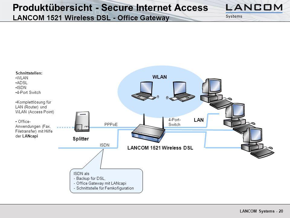 LANCOM Systems - 20 Schnittstellen: WLAN ADSL ISDN 4-Port Switch Komplettlösung für LAN (Router) und WLAN (Access Point) Office- Anwendungen (Fax, Fil