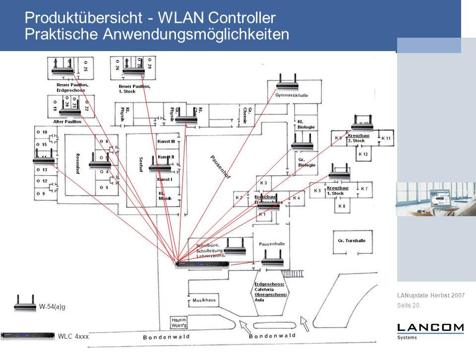 LANupdate Herbst 2007 Seite 20 Produktübersicht - WLAN Controller Praktische Anwendungsmöglichkeiten W-54(a)g WLC 4xxx
