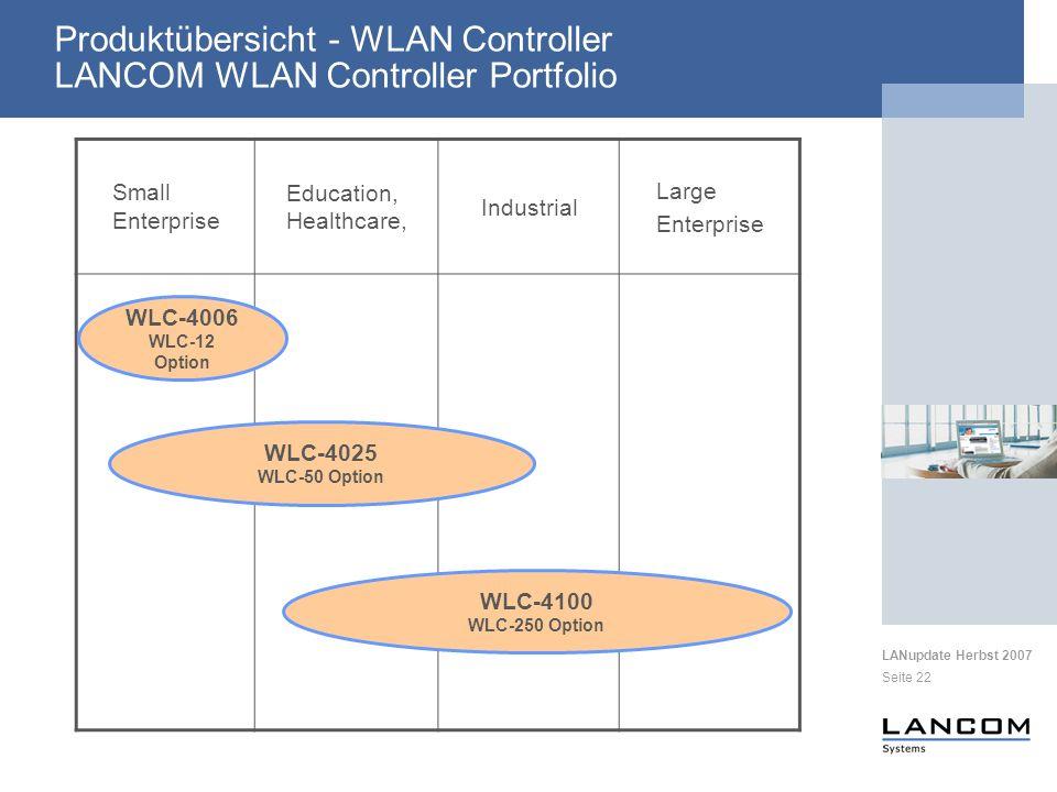 LANupdate Herbst 2007 Seite 22 Produktübersicht - WLAN Controller LANCOM WLAN Controller Portfolio Small Enterprise Education, Healthcare, Industrial Large Enterprise WLC-4006 WLC-12 Option WLC-4025 WLC-50 Option WLC-4100 WLC-250 Option