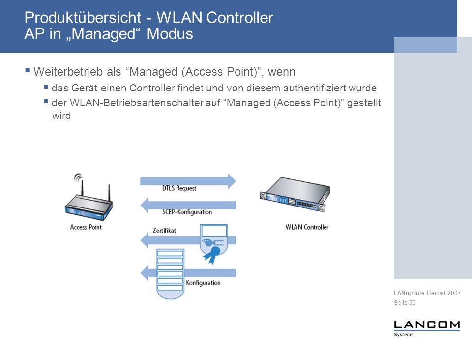 LANupdate Herbst 2007 Seite 30 Produktübersicht - WLAN Controller AP in Managed Modus Weiterbetrieb als Managed (Access Point), wenn das Gerät einen C