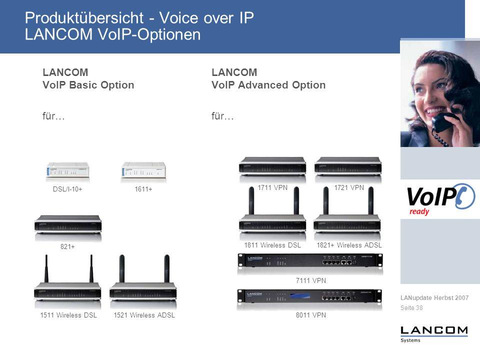 LANupdate Herbst 2007 Seite 38 Produktübersicht - Voice over IP LANCOM VoIP-Optionen LANCOM VoIP Basic Option für… LANCOM VoIP Advanced Option für… DSL/I-10+1611+ 1711 VPN1721 VPN 821+ 1811 Wireless DSL1821+ Wireless ADSL 1511 Wireless DSL1521 Wireless ADSL8011 VPN 7111 VPN