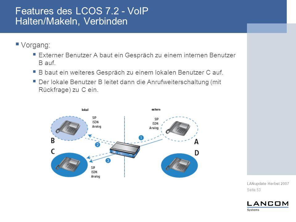 LANupdate Herbst 2007 Seite 53 Vorgang: Externer Benutzer A baut ein Gespräch zu einem internen Benutzer B auf.