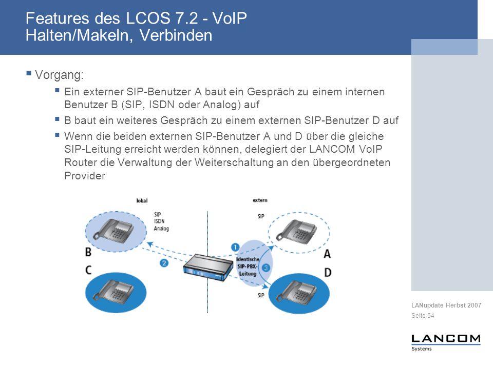 LANupdate Herbst 2007 Seite 54 Vorgang: Ein externer SIP-Benutzer A baut ein Gespräch zu einem internen Benutzer B (SIP, ISDN oder Analog) auf B baut
