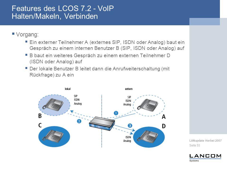 LANupdate Herbst 2007 Seite 55 Vorgang: Ein externer Teilnehmer A (externes SIP, ISDN oder Analog) baut ein Gespräch zu einem internen Benutzer B (SIP