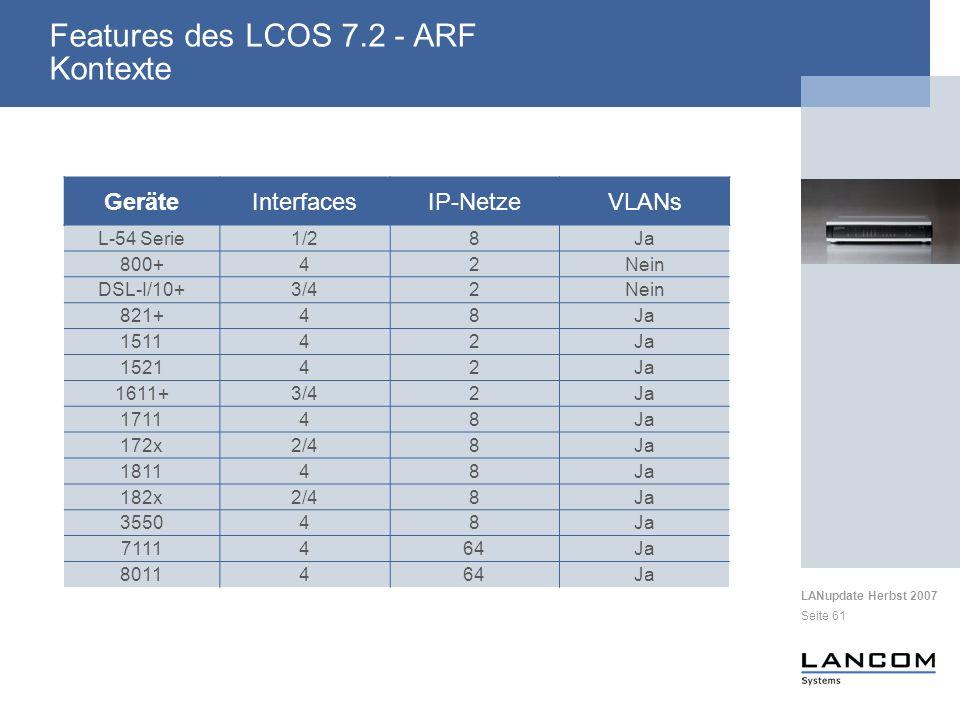 LANupdate Herbst 2007 Seite 61 Features des LCOS 7.2 - ARF Kontexte GeräteInterfacesIP-NetzeVLANs L-54 Serie1/28Ja 800+42Nein DSL-I/10+3/42Nein 821+48