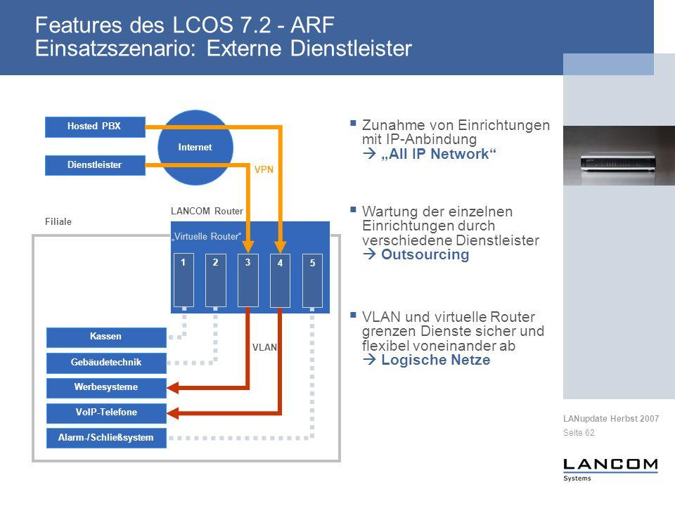 LANupdate Herbst 2007 Seite 62 Zunahme von Einrichtungen mit IP-Anbindung All IP Network VoIP-Telefone Kassen Gebäudetechnik Werbesysteme Alarm-/Schli