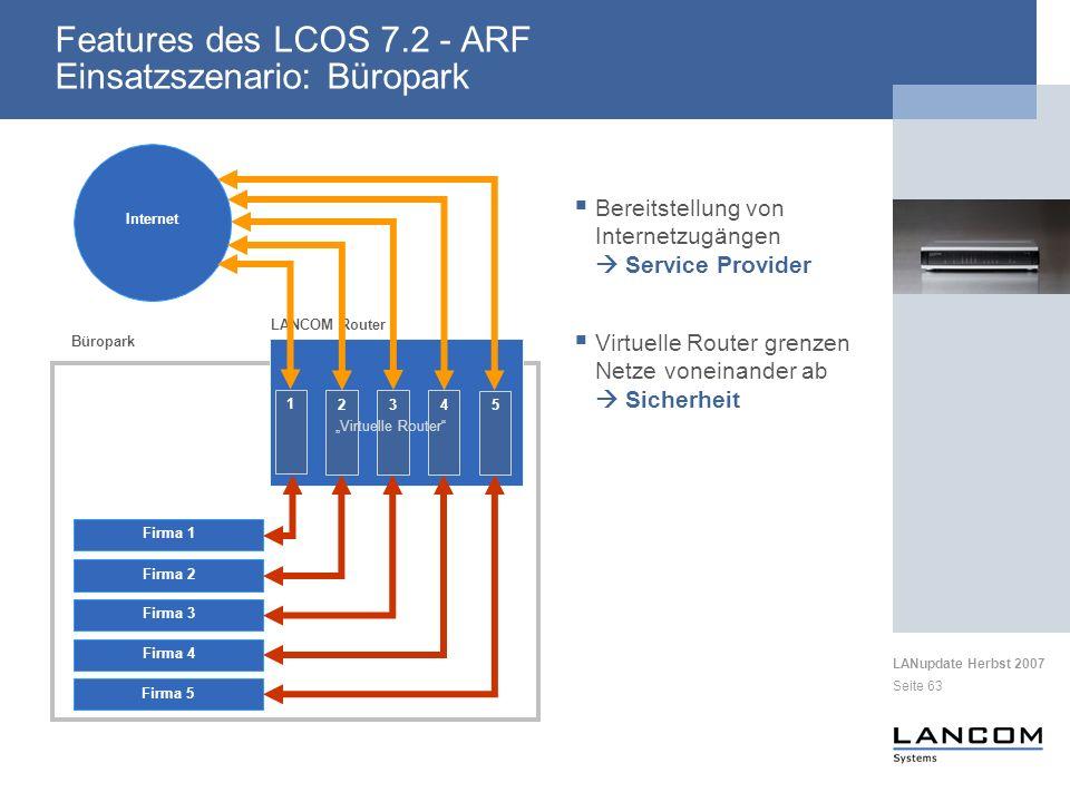 LANupdate Herbst 2007 Seite 63 Firma 1 Internet Büropark LANCOM Router Firma 4 Firma 2 Firma 3 Firma 5 Bereitstellung von Internetzugängen Service Provider Virtuelle Router grenzen Netze voneinander ab Sicherheit Features des LCOS 7.2 - ARF Einsatzszenario: Büropark 2 3 4 5 1 Virtuelle Router