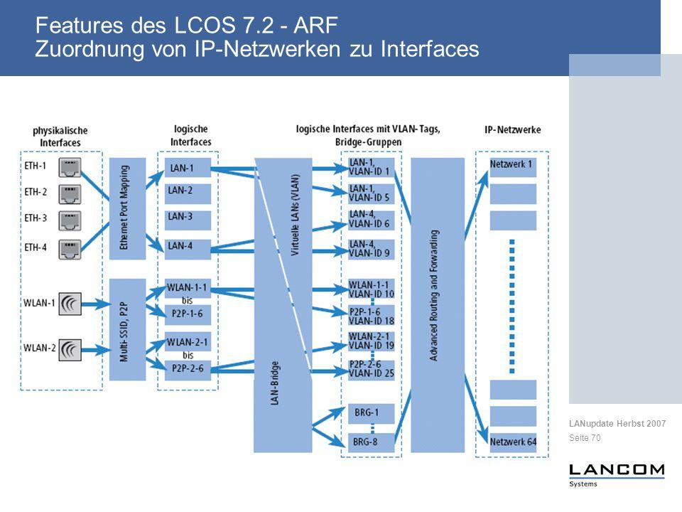 LANupdate Herbst 2007 Seite 70 Features des LCOS 7.2 - ARF Zuordnung von IP-Netzwerken zu Interfaces