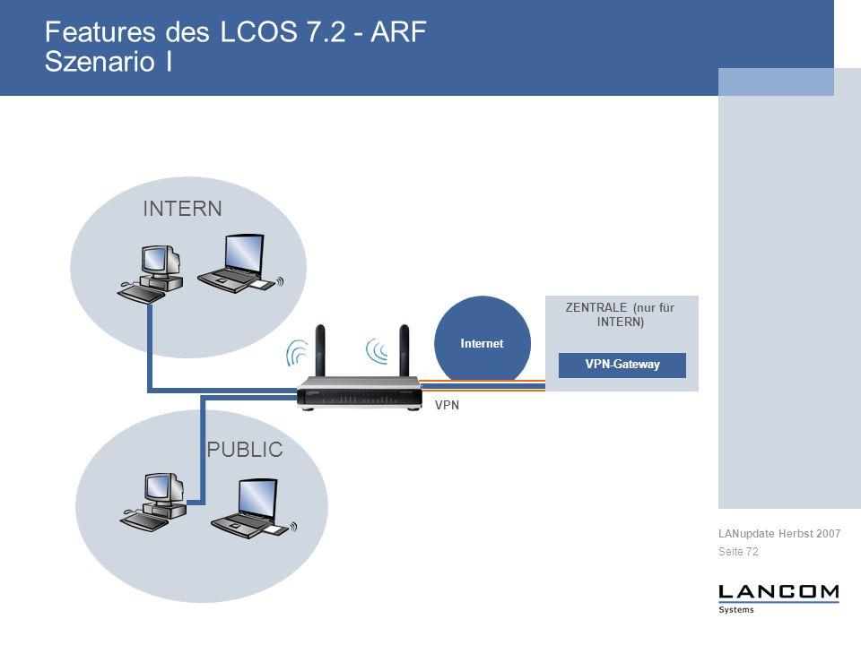 LANupdate Herbst 2007 Seite 72 Internet VPN VPN-Gateway ZENTRALE (nur für INTERN) PUBLIC INTERN Features des LCOS 7.2 - ARF Szenario I