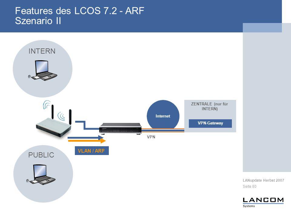 LANupdate Herbst 2007 Seite 80 Features des LCOS 7.2 - ARF Szenario II Internet VPN VPN-Gateway ZENTRALE (nur für INTERN) PUBLIC INTERN VLAN / ARF