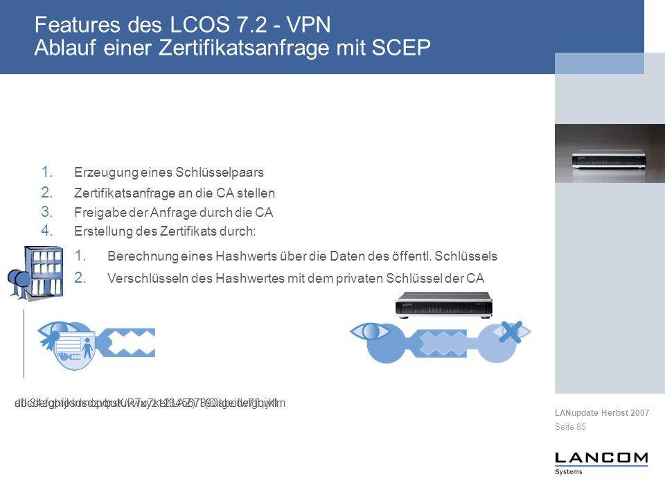 LANupdate Herbst 2007 Seite 85 1. Erzeugung eines Schlüsselpaars 4. Erstellung des Zertifikats durch: 2. Zertifikatsanfrage an die CA stellen 1. Berec