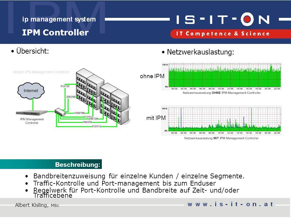 IPM Controller Netzwerkauslastung: Übersicht: Beschreibung: Bandbreitenzuweisung für einzelne Kunden / einzelne Segmente.