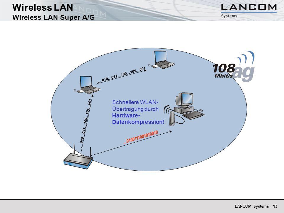 LANCOM Systems - 13 Schnellere WLAN- Übertragung durch Hardware- Datenkompression!...0100111001010010... 010...011...100...101...001 Wireless LAN Wire