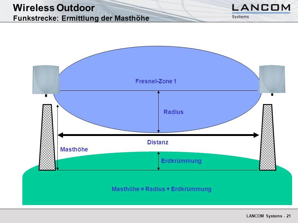 LANCOM Systems - 21 Wireless Outdoor Funkstrecke: Ermittlung der Masthöhe Distanz Masthöhe Radius Fresnel-Zone 1 Erdkrümmung Masthöhe = Radius + Erdkr