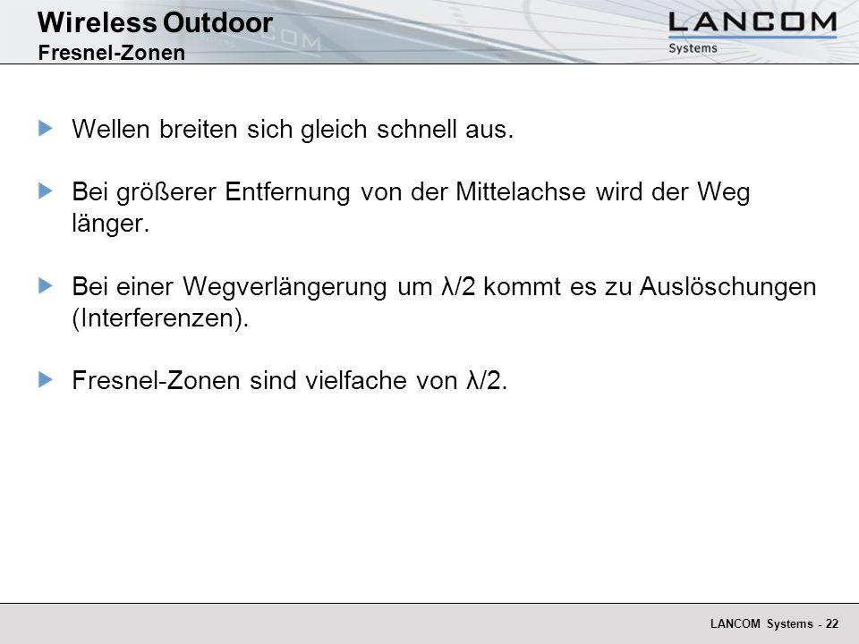 LANCOM Systems - 22 Wireless Outdoor Fresnel-Zonen Wellen breiten sich gleich schnell aus. Bei größerer Entfernung von der Mittelachse wird der Weg lä