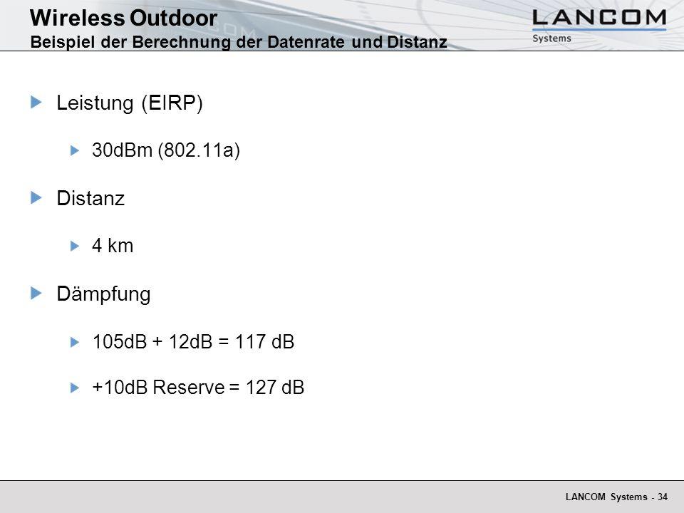 LANCOM Systems - 34 Wireless Outdoor Beispiel der Berechnung der Datenrate und Distanz Leistung (EIRP) 30dBm (802.11a) Distanz 4 km Dämpfung 105dB + 1