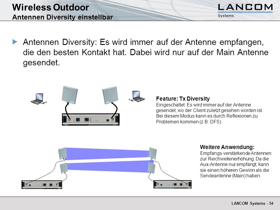 LANCOM Systems - 54 Wireless Outdoor Antennen Diversity einstellbar Antennen Diversity: Es wird immer auf der Antenne empfangen, die den besten Kontak
