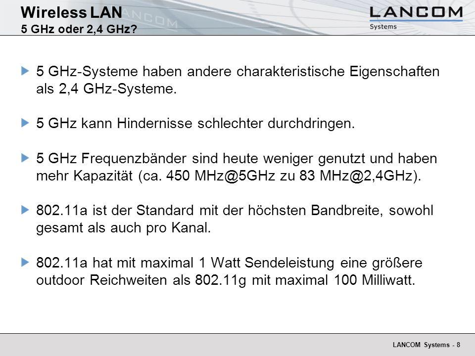 LANCOM Systems - 19 Wireless Outdoor Funkstreckenberechnung - Übersicht Berechnung von Funkstrecken besteht aus mehreren Bestandteilen: Festlegung des WLAN-Standards Voraussetzung: Freie Sichtverbindung Ermittlung Fresnel-Zone und Masthöhe Reichweitenberechnung: Ermittlung Abstrahl-Leistung Ermittlung Dämpfung und Reichweite
