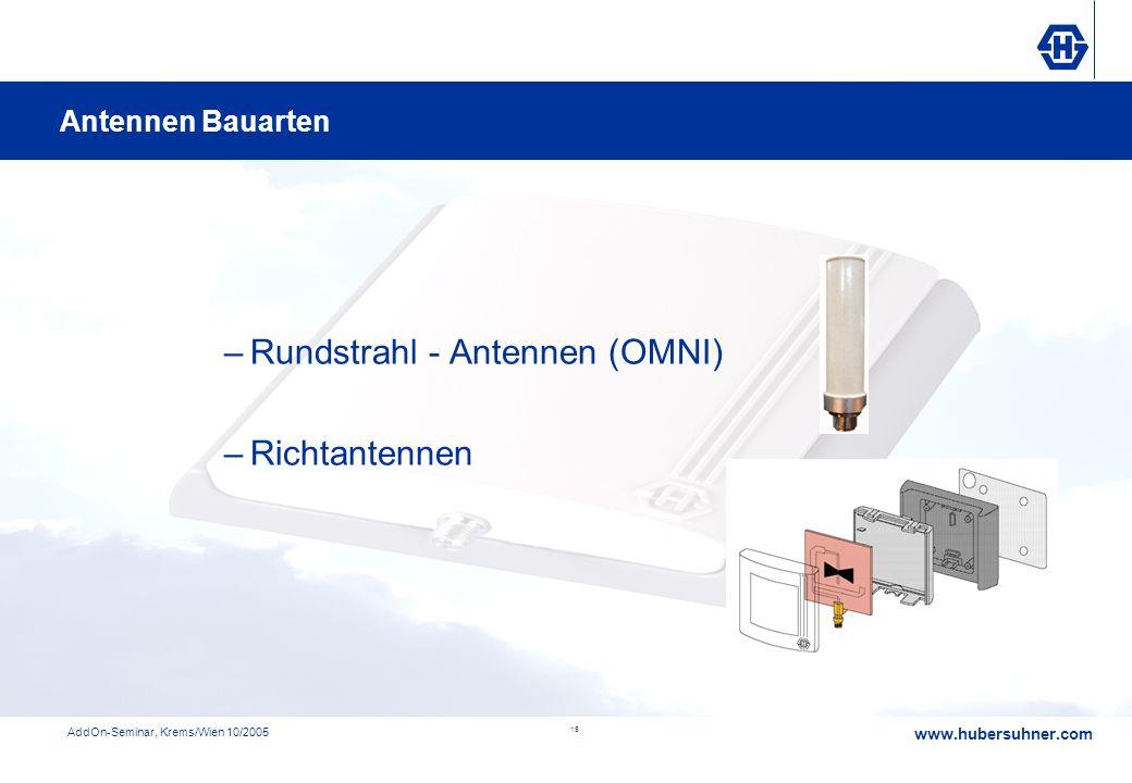 www.hubersuhner.com AddOn-Seminar, Krems/Wien 10/2005 15 –Rundstrahl - Antennen (OMNI) –Richtantennen Antennen Bauarten