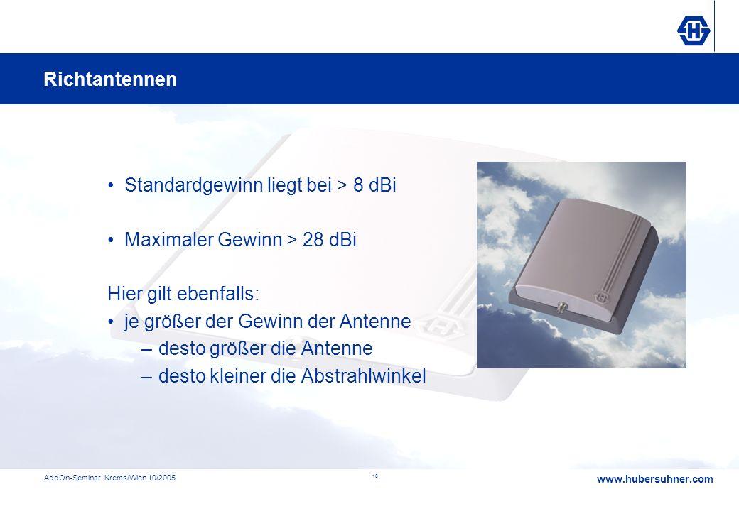 www.hubersuhner.com AddOn-Seminar, Krems/Wien 10/2005 18 Standardgewinn liegt bei > 8 dBi Maximaler Gewinn > 28 dBi Hier gilt ebenfalls: je größer der