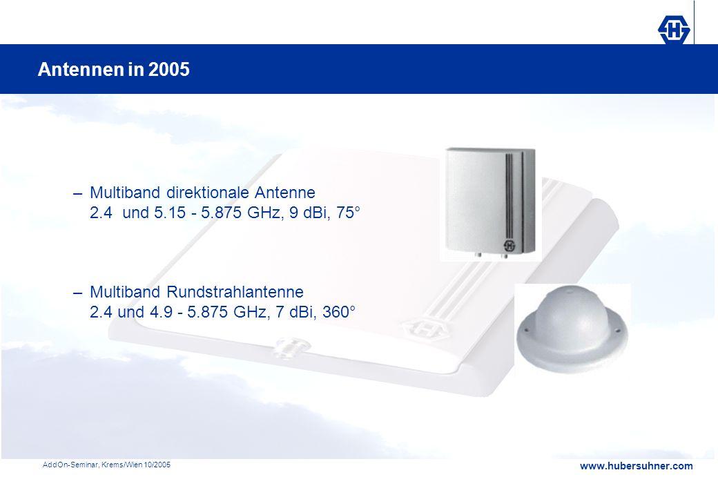www.hubersuhner.com AddOn-Seminar, Krems/Wien 10/2005 –Multiband direktionale Antenne 2.4 und 5.15 - 5.875 GHz, 9 dBi, 75° –Multiband Rundstrahlantenn