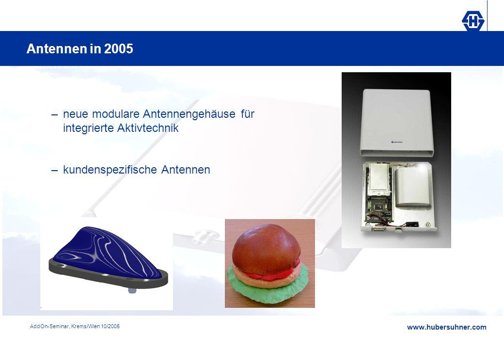 www.hubersuhner.com AddOn-Seminar, Krems/Wien 10/2005 Antennen in 2005 –neue modulare Antennengehäuse für integrierte Aktivtechnik –kundenspezifische