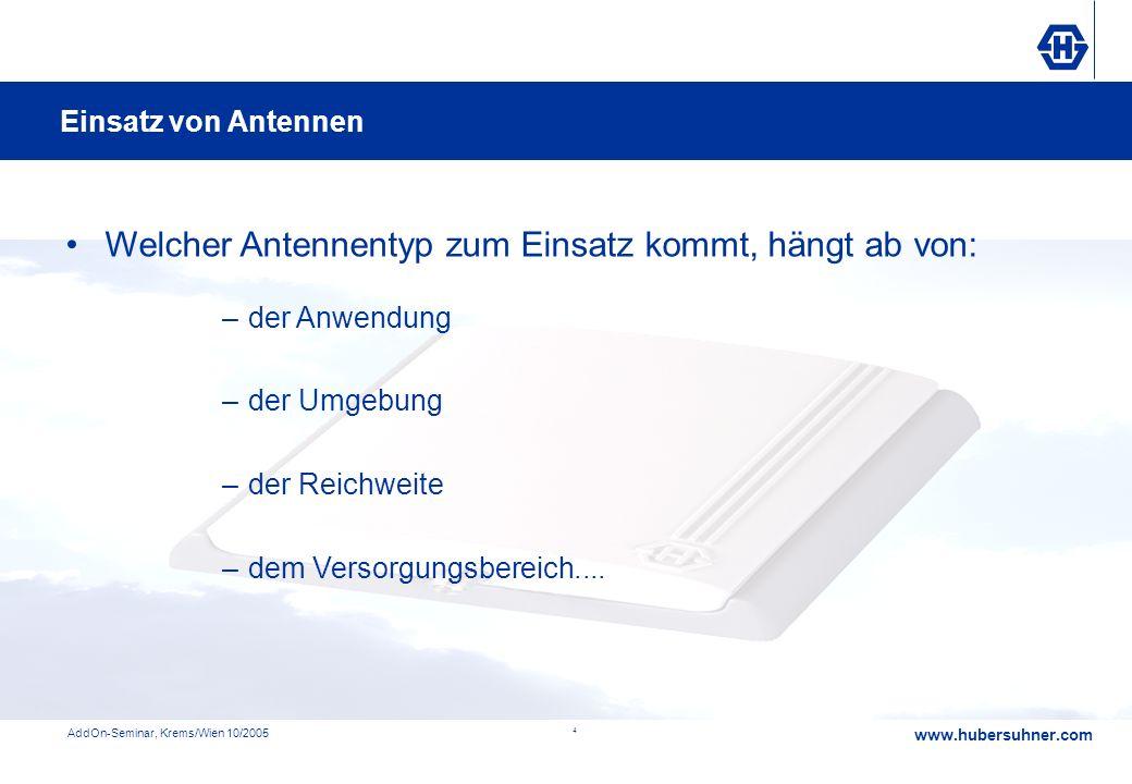 www.hubersuhner.com AddOn-Seminar, Krems/Wien 10/2005 4 Systemtuning durch ein abgestimmtes Antennensystem –der Anwendung –der Umgebung –der Reichweit