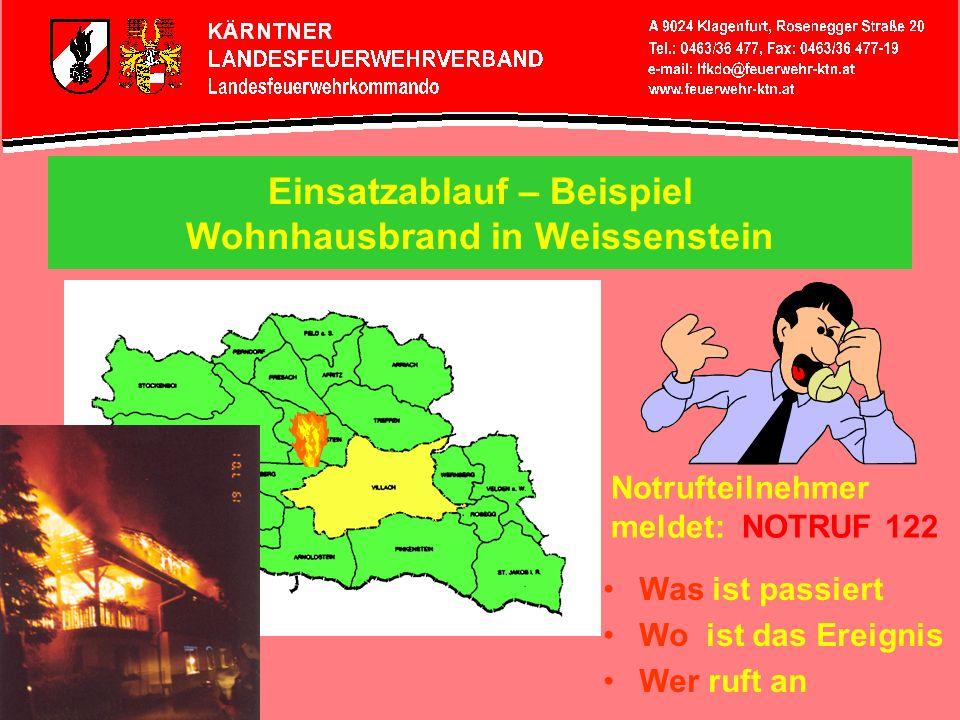 Einsatzablauf – Beispiel Wohnhausbrand in Weissenstein Notrufteilnehmer meldet: NOTRUF 122 Was ist passiert Wo ist das Ereignis Wer ruft an