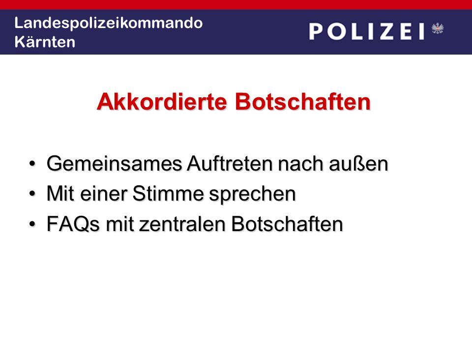 Landespolizeikommando Kärnten Kommunikation transparent (proaktiv, realitätsgemäß) transparent (proaktiv, realitätsgemäß) situationsgerecht (Sicherheitsrisiken) situationsgerecht (Sicherheitsrisiken) kooperativ kooperativ