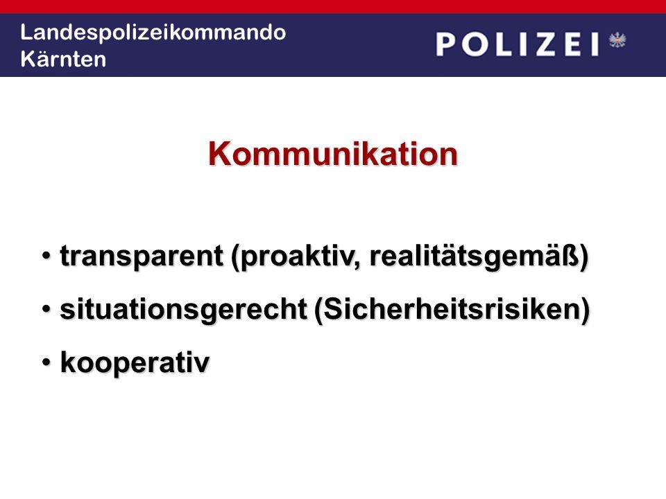 Landespolizeikommando Kärnten Kommunikation transparent (proaktiv, realitätsgemäß) transparent (proaktiv, realitätsgemäß) situationsgerecht (Sicherhei
