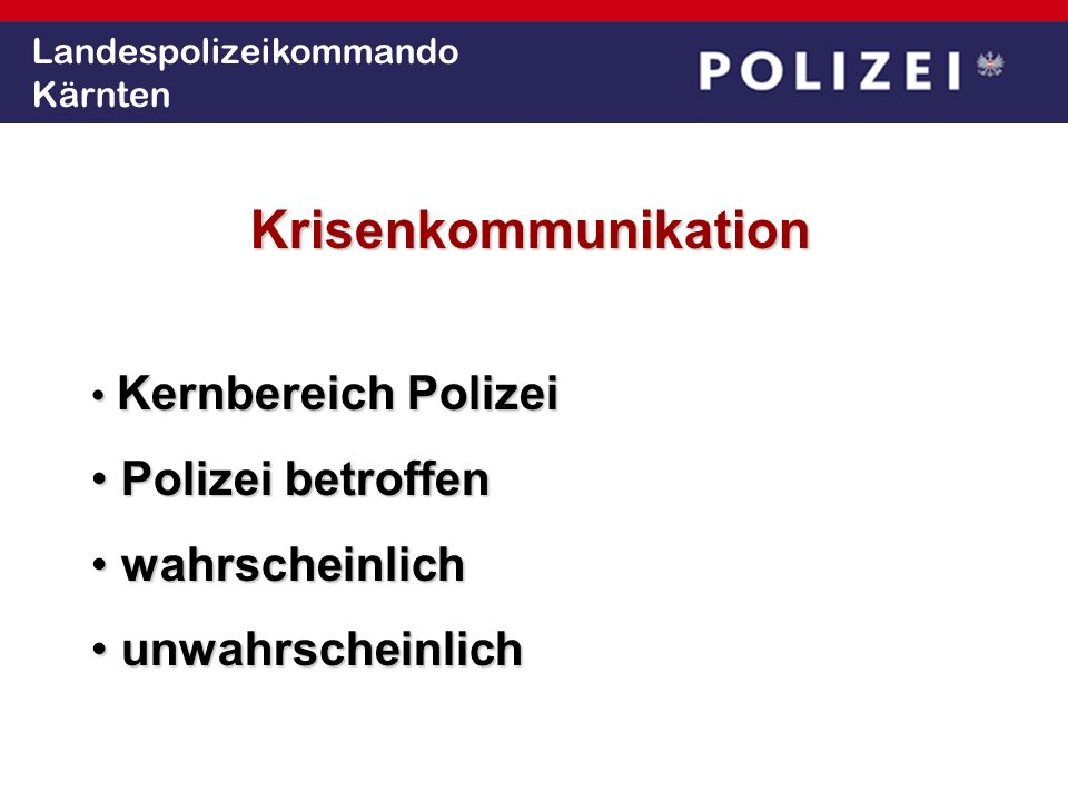 Landespolizeikommando Kärnten 3-D-PHILOSOPHIEDialogDeeskalationDurchsetzen